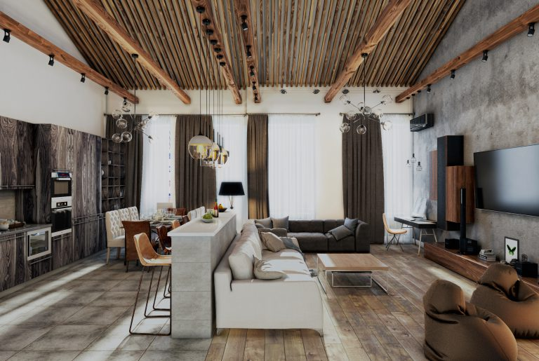 Гостиная в стиле лофт loft style