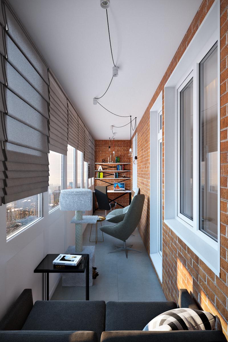 Квартира 60 кв.м. с большой лоджией в современном стиле с эл.