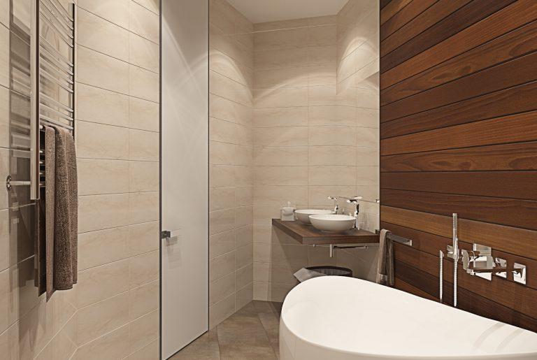Ванная со стеной из тика Bathroom View_01