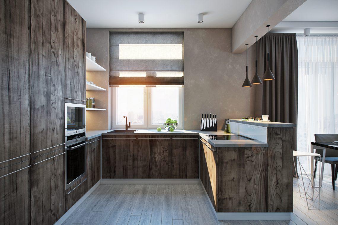 Как оформить кухню-гостиную в студии: проект в Замоскворечье