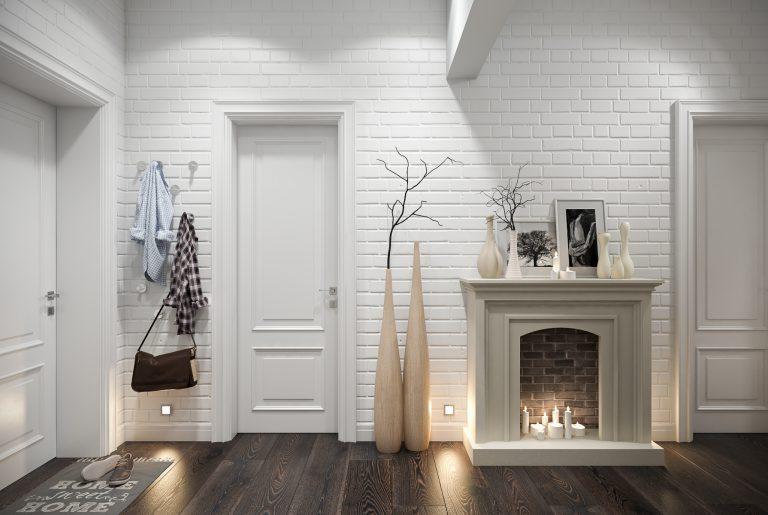 Прихожая холл с камином в скандинавском стиле View03