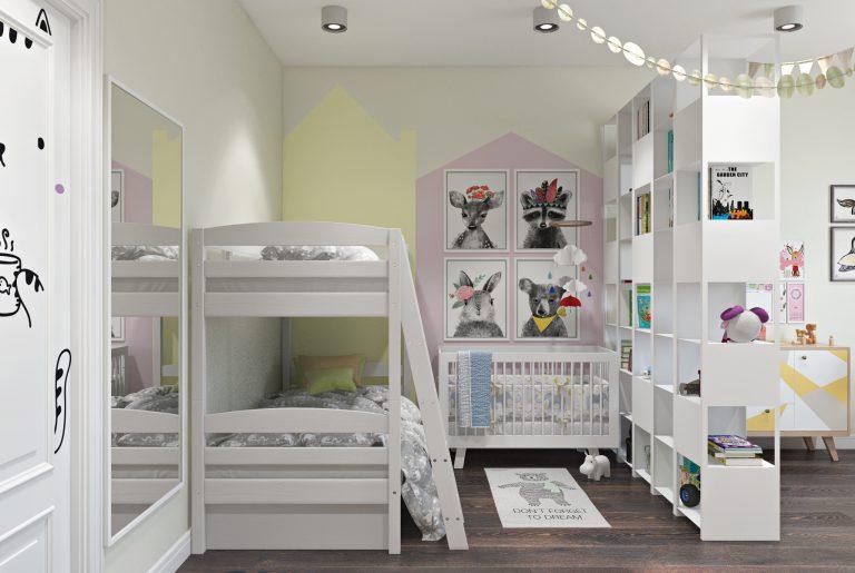 Детская комната для трех детей View02 кроватки
