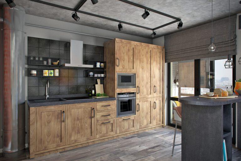 Студия кухня в стиле лофт Loft Kitchen View17