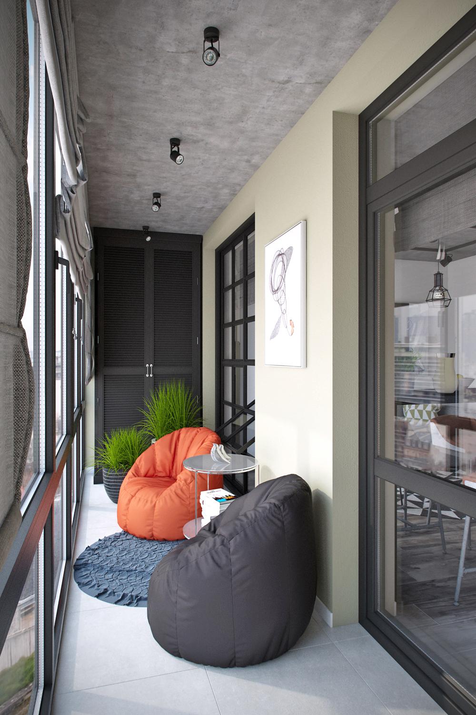 Квартира 45 кв.м. с большой лоджией в стиле лофт в up-кварта.