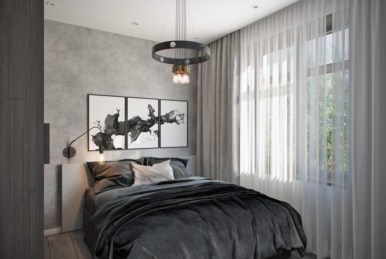 Гостевая спальня в загородном доме в современном стиле с элементами лофт