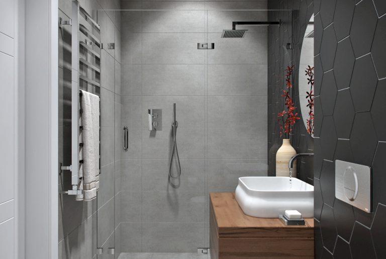 Гостевая душевая в современном стиле с контрастными стенами