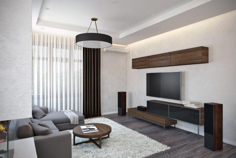 Современная мягкая зона для просмотра ТВ в загородном доме