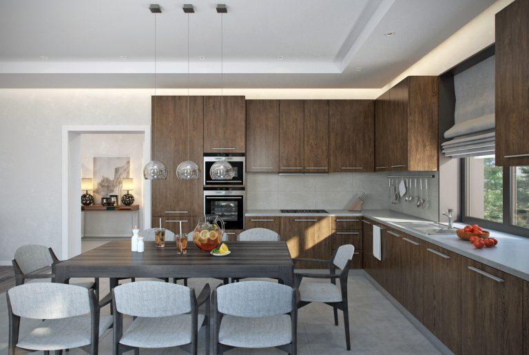 Обеденная зона и зона готовки в гостиной на первом этаже