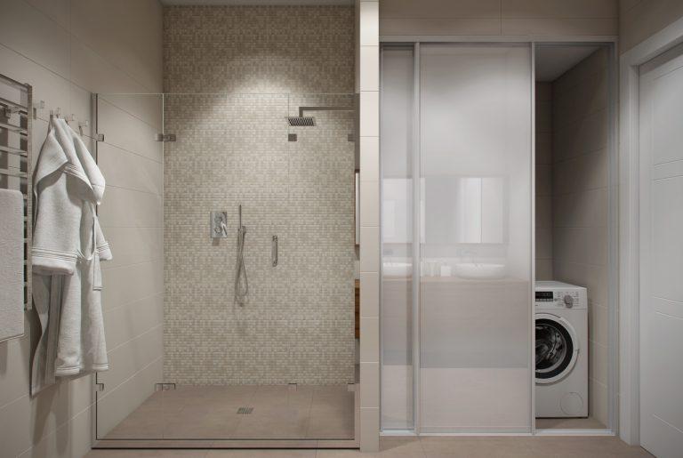 Большой душевой уголок в основной ванной на втором этаже