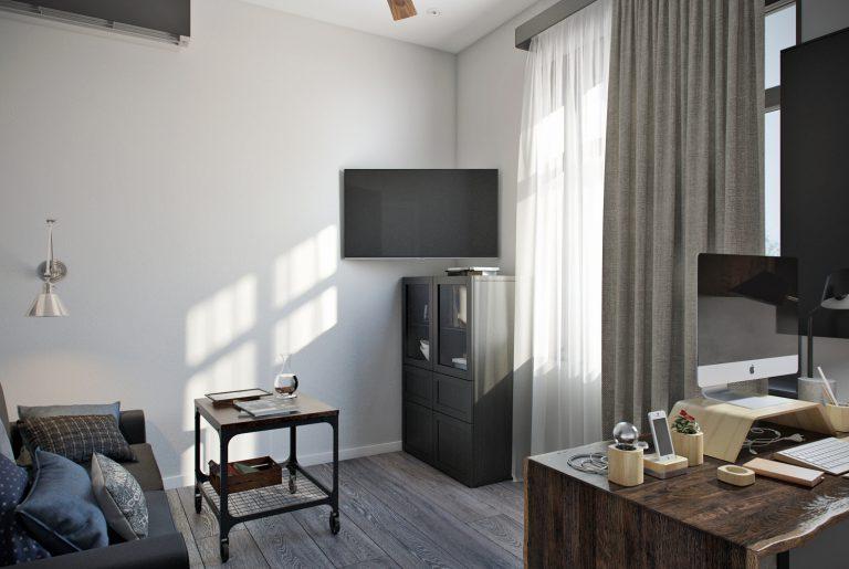 Телевизор в кабинете на втором этаже