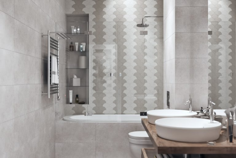 ванная с двумя раковинами в современном стиле 1
