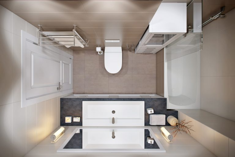 ванная в современном стиле с отдельным входом из мастер-спальни вид сверху