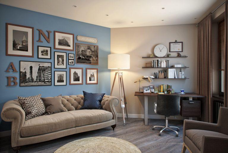 кабинет в американском стиле с контрастными стенами