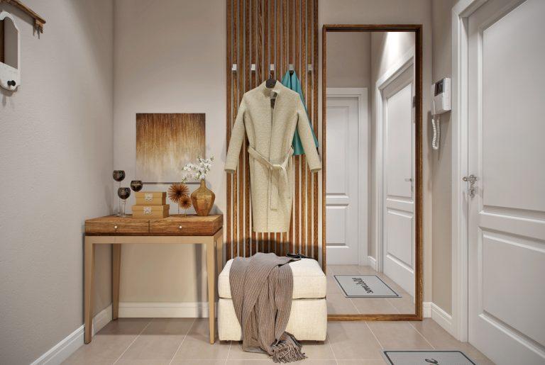 Уютная прихожая с деревянными рейками в стиле эклектика