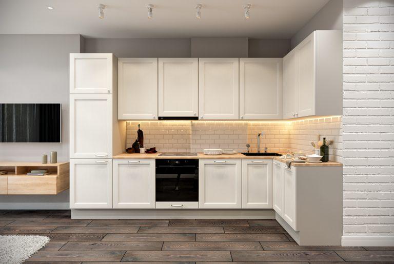 Белая кухня в стиле эклектика Livingroom (6)