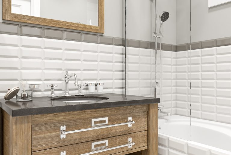 Ванная светлая bathroom (5) плитка кабанчик