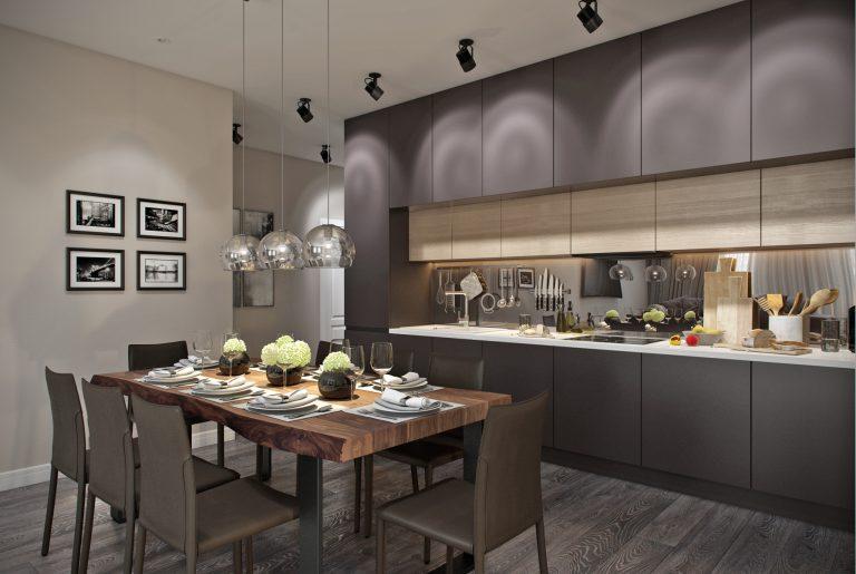 Обеденная зона и зона готовки в объединенной кухне-гостиной