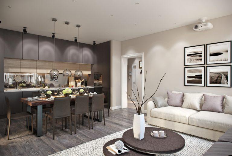 Объединенная кухня-гостиная в современном стиле