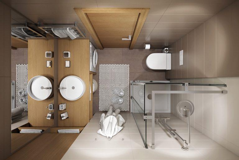 Ванная душевая Bathroom View01 дерево современный стиль вид сверху