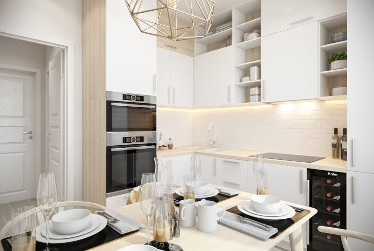 Кухня белая 1 скандинавский стиль