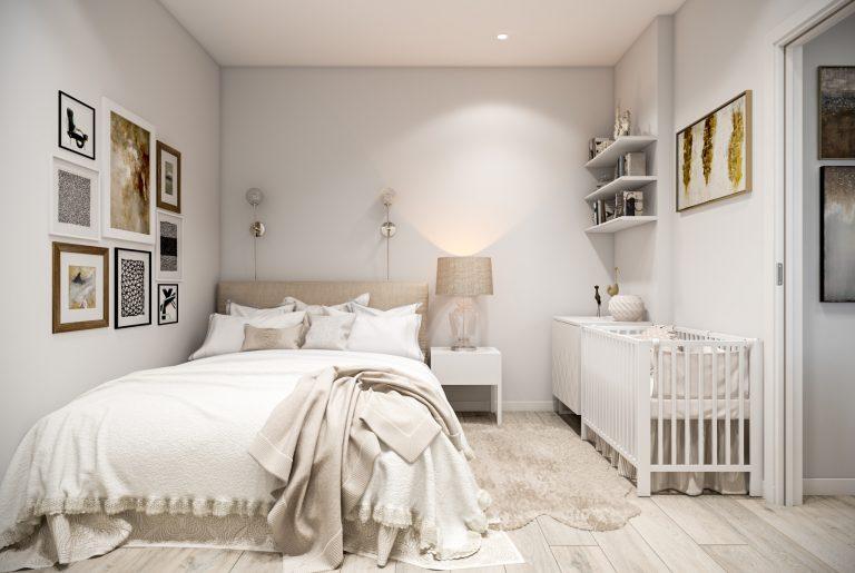 Спальня с детской кроваткой скандинавский стиль