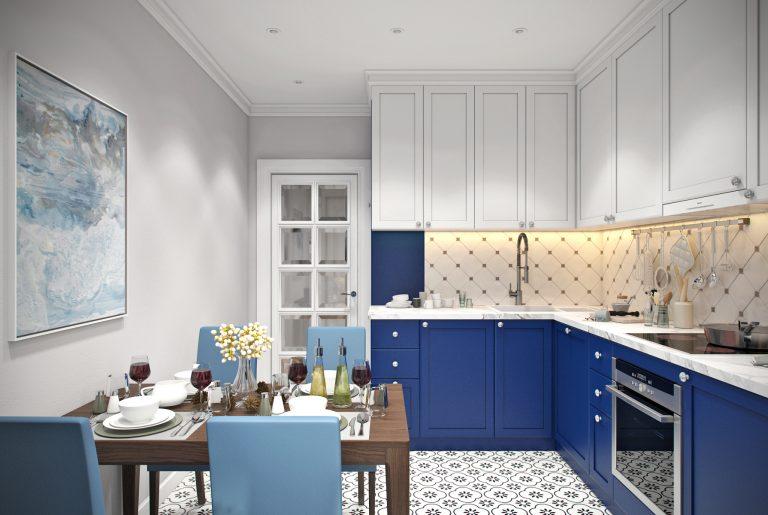 Кухня (2) ар-деко синяя белая
