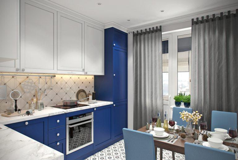 Кухня (3) ар-деко синяя белая