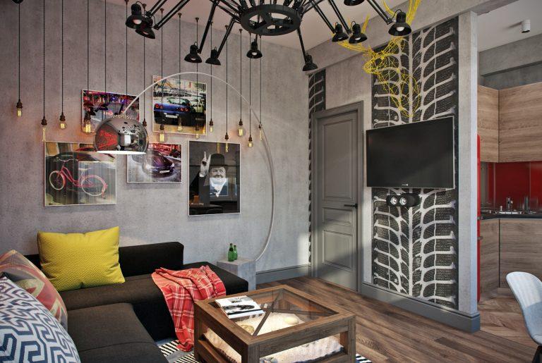 Гостиная в стиле лофт Living room in loft style