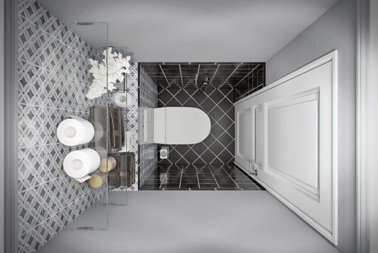 Санузел ар-деко вид сверху Art Deco Bathroom