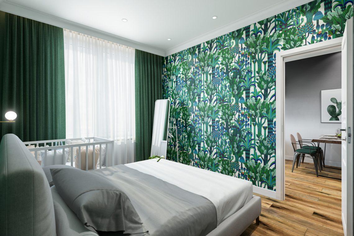 Проект маленькой квартиры с изумрудной спальней