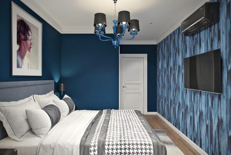Спальня синяя ар-деко
