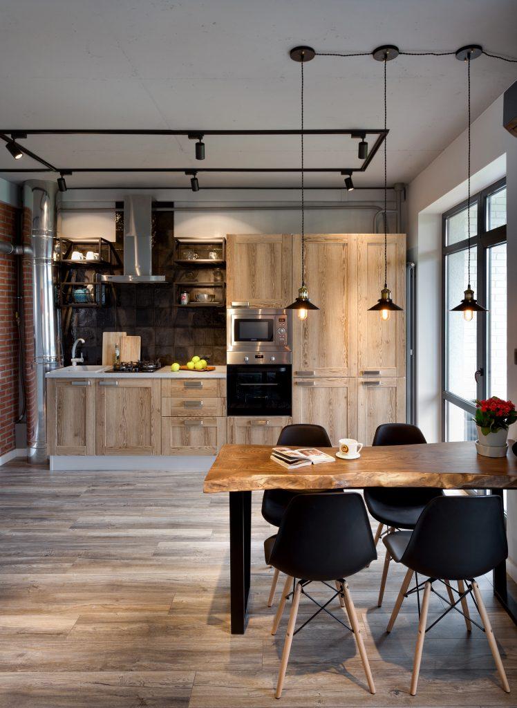 Кухонный гарнитур в кваритре в стиле лофт