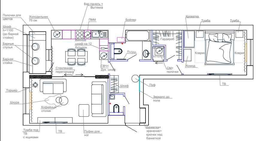 ЖК Николин парк планировочное решение для двухкомнатной квартиры