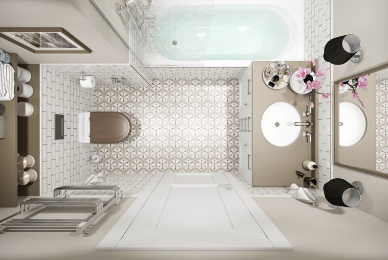 Светлая ванная вид сверху в стиле американская классика