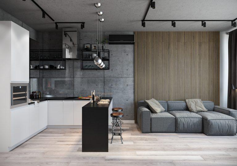 Квартира 57 кв.м. в стиле лофт в ЖК Tetris Hall Киев