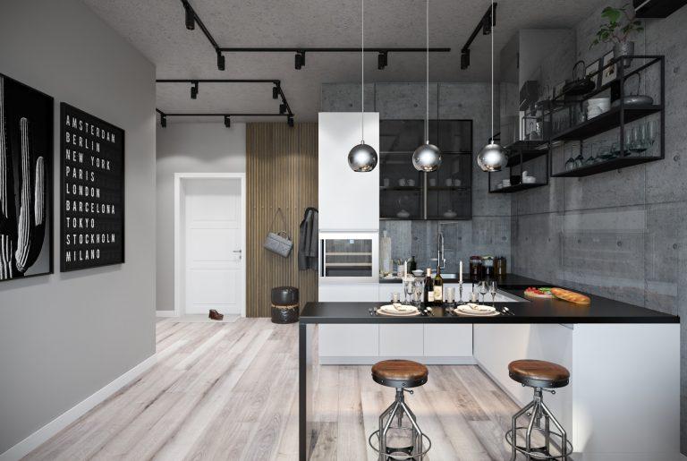гостиная- living room4 в стиле лофт