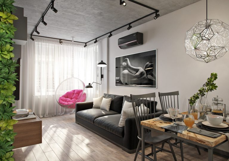 The apartment is 50 sq.m. in the style of eclecticism