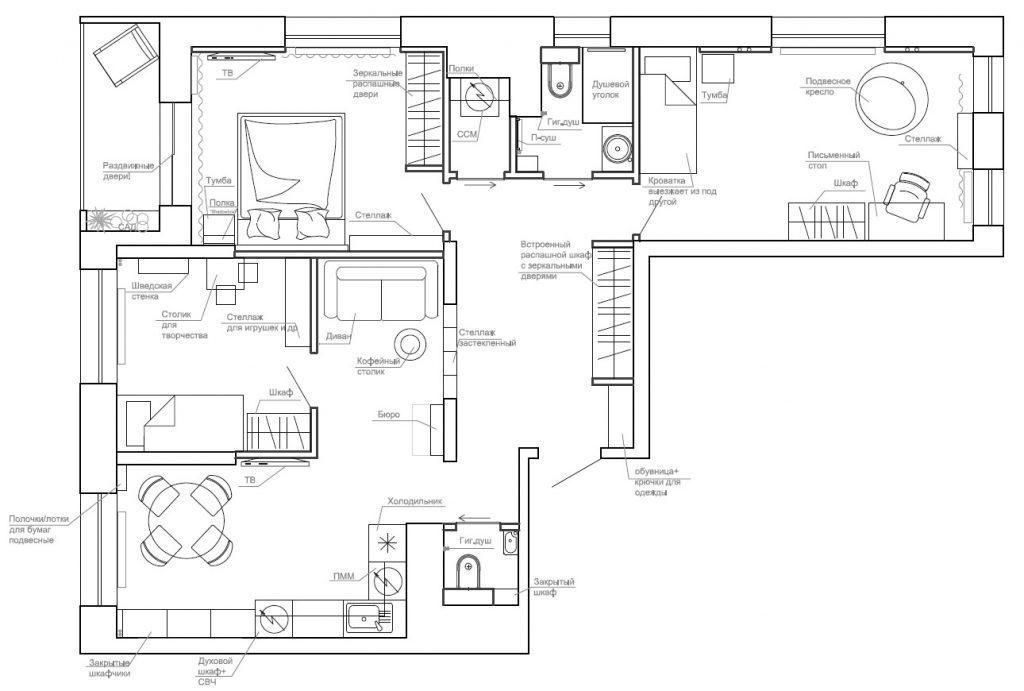 Планировочное решение 3-х комнатна