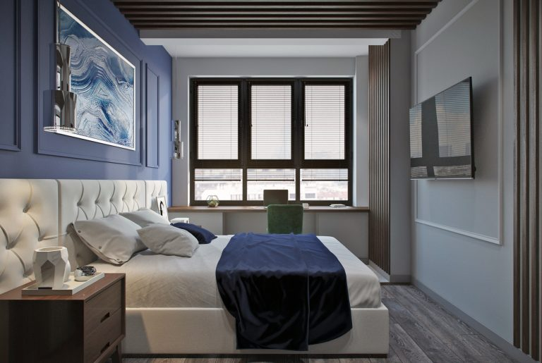 Современная спальня с молдинками на стенах и деревянными рейками