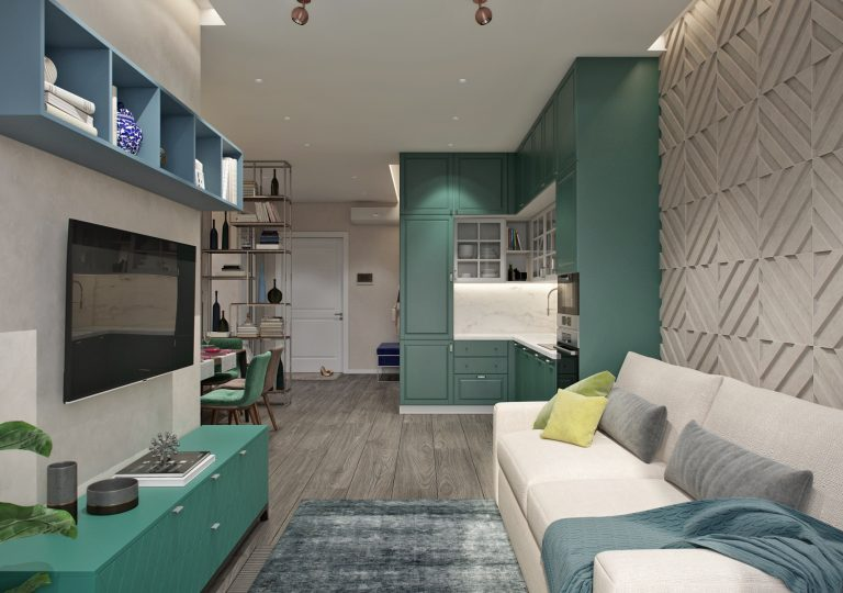 The apartment of 80 sq.m. in a modern style