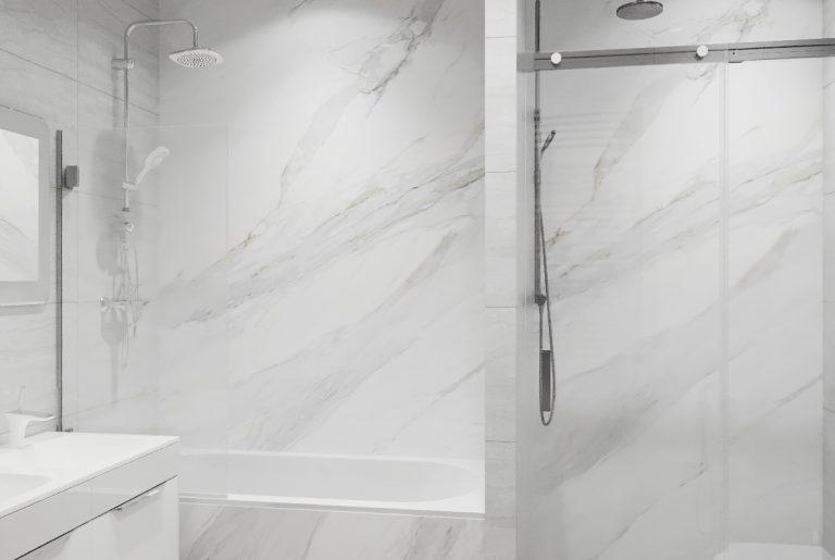ванная из белого мрамора