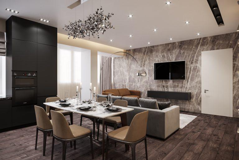 обеденная зона в большой современной гостиной