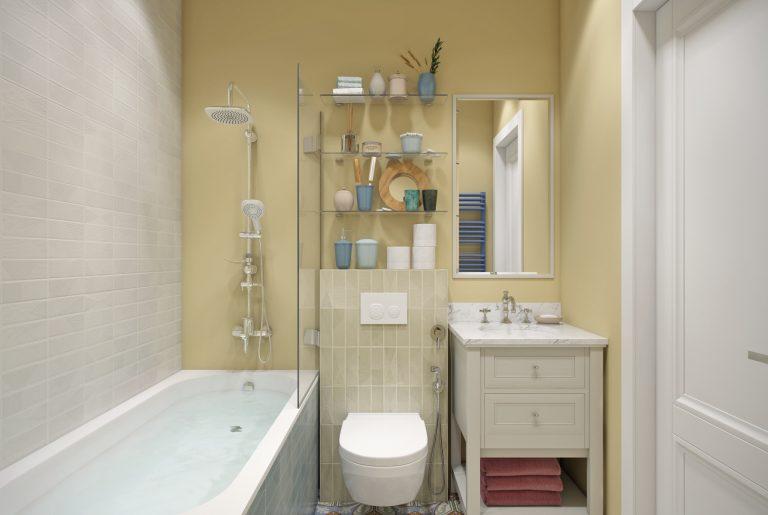 ванная с желтыми стенами