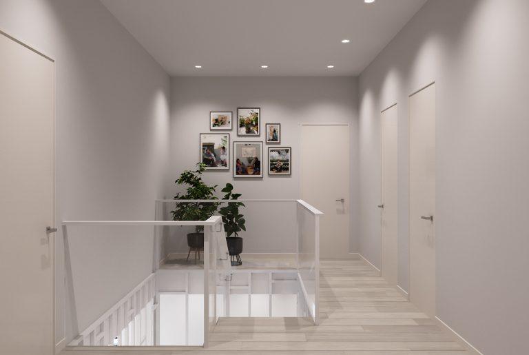 холл второго этажа и лестничное ограждение