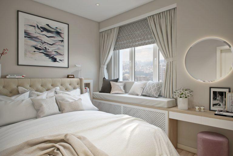 спальня с мягким подоконником