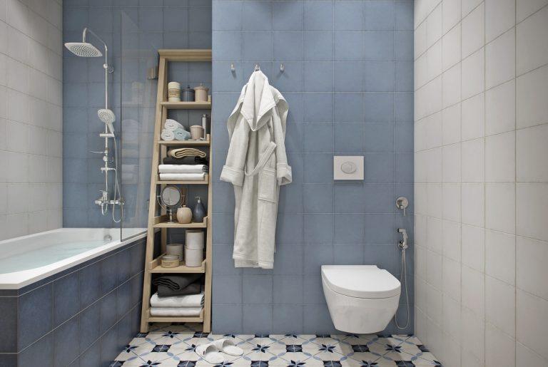 ванная с голубыми стенами