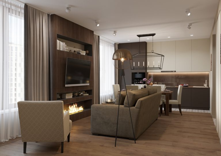 The apartment of 81 sq.m. in a contemporary style