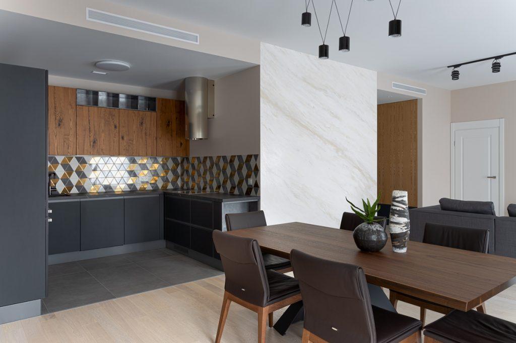 зона кухни в гостиной
