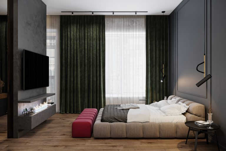 мягкая кровать в мастер-спальне