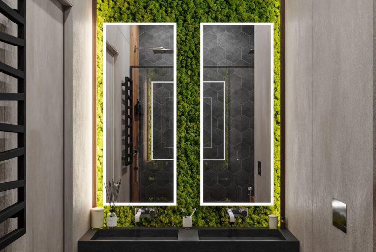 зеленый мох в ванной комнате